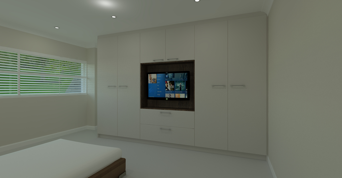 bespoke white modern flat door bedroom